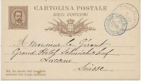 "ITALIEN 1882, König Umberto I 10 Cmi. GA-Postkarte K1 ""BAVENO""  u HOTELPOST-K2"