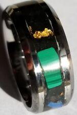 Malachite and opalite tungsten glow ring