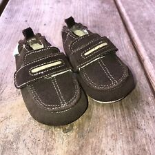 Little Baby Infant Boy Robeez Brown Suede Loafers shoes 3-6 mo Soft Sole Gripper
