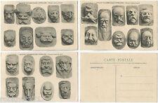 LOT 3 CPA Georges Laporte Sculpsit MASQUES PARLEMENTAIRES LITTERAIRES [151 R]