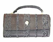 BLACK SILK PURSE STYLE CLUTCH TINY HANDLE EVENING BAG 60S BLACK EMBOSSED  *ITALY
