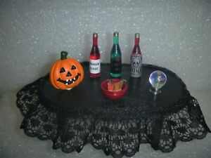 Miniature Black Top Trimmed Oval Table For Party or  Halloween Display