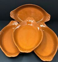 Vintage Vulcania Pottery #25 Terra Cotta Baking Dishes Lot Of 4 Made in Italy