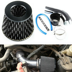 """Car Aluminum Air Intake Kit Pipe Diameter 3""""+Cold Air Intake Filter+Clamp Set"""