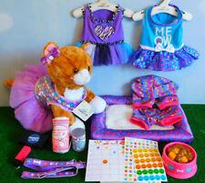 Build a Bear Promise Pets - Ginger Cat Girls Purple Bundle, Bed, Clothes, Food