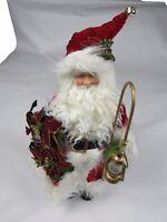 "Vintage 18"" tall standing Christmas Santa Claus porcelain figure holding Lantern"