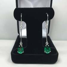 925 Sterling Silver Emerald Gemstone Natural Certified 4 Ctw Antique Earrings