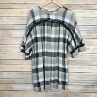Anthropologie Maeve Womens Top Tunic Beige Plaid Short Sleeve Pockets Size Small
