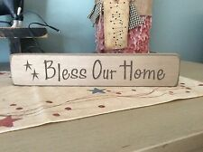 Primitive country farmhouse bless our home creme block sign picture cabin