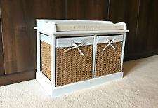 Retro French Chic Hallway Bench Shoe Storage White Wicker Baskets Cushion Seat