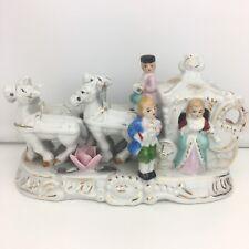 Antique THAMES Victorian Horse Drawn Carriage Porcelain FIGURINE Handpainted