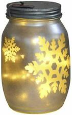 Darice Christmas Snowflakes Gold Mason Jar with Lights