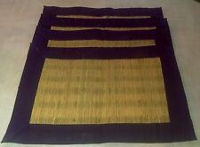 "Placemats Wicker Rattan Straw Purple Trim Set of 4 19"" x 13"" Tableware Rectangle"
