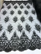 BLACK Lace Fabric By The Yard Embroidery Sequins With Soft Mesh Bridal Veil Lace