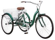 Vintage Style 3-Wheel Bike Bicycle Tricycle Basket Delivery Wheeled Adult Green