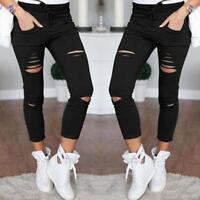 High Waist Skinny Fashion Boyfriend Jeans for Women Hole Vintage Girls Slim