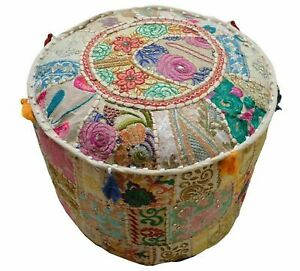 Cotton Round Floor Lounge Ottoman Pouffe Traditional Patchwork Embroidered