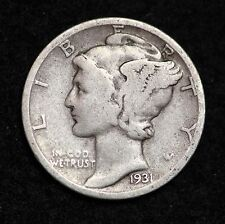 1931-S Mercury Dime / Circulated Grade Good / Very Good 90% Silver Coin