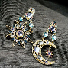 1 Pair Sun Moon Pendant Earrings Glaring Rhinestone Stylish Jewelry Accessories
