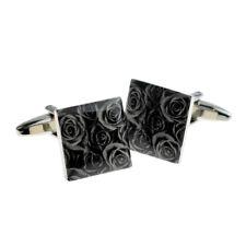 in a Cufflink Box X2Na3868 Bla 00006000 ck Rose Design Cufflinks Presented