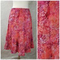 Nomadic Traders Peasant Skirt Size Large Boho Festival Batik Floral knee length