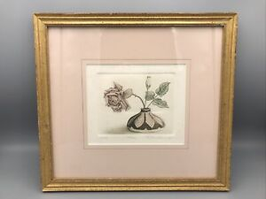 """Rick Loudermilk Copperplate Etching Limited Print """"Roses"""" Signed Numbered"""