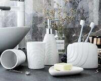 Bathroom Accessories Set Ceramic White Soap Dish Tumbler Toothbrush Holder 5pcs