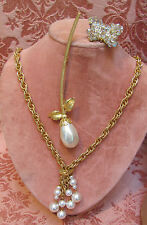 LOT-3) VTG 60s DRAMATIC MABE' PEARL SUIT BROOCH *AB CRYSTAL BUTTERFLY & SAUTOIR