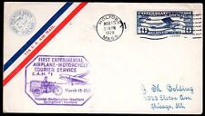 """US 1928 FIRST EXPERIMENTAL AIR PLANE MOTORCYCLE COURIER SERVICE COVER """"CAM 1"""" TO"""