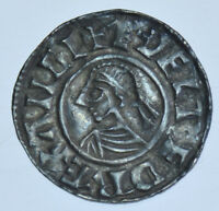 AETHELRED II PENNY [978-1016], LONDON MINT, BRITISH SILVER HAMMERED COIN GVF