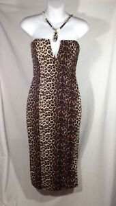 SeXy Leopard DRESS Strapless knee length animal print Size Small