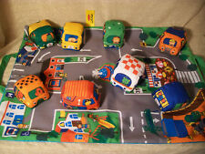 T4 Melissa & Doug Take Along Town Play Mat, Fabric Cars, Road Printed Bag, Nice!