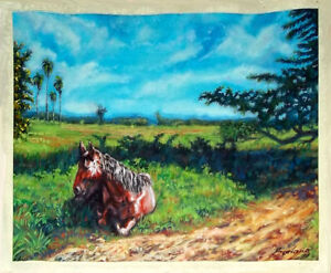 HORSE Original Art Acrylic Painting Arte Cuban Bodano Cuba Artist BODAÑO
