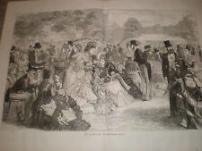 The Garden Party at Buckingham Palace 1871 old print