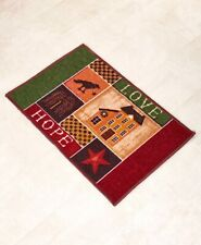 Primitive Country Star Bath Rug Willow Tree Checkers Home Sweet Home Bird Rug