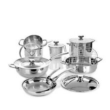 Wolfgang Puck 14 Piece Quality Stainless Steel Cookware Set WP14PC0816 Brand New