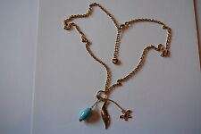 Royaume-Uni Hooch Or & Turquoise Charme Style Collier Femmes & Filles Costume Bijoux