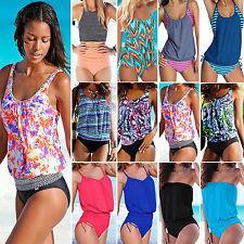 Damen Tankini Bikini Set Bademode Badeanzug Strand Schwimmanzug Badebekleidung