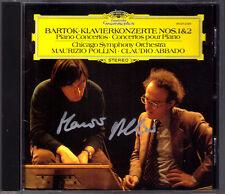 Maurizio POLLINI Signiert BARTOK Piano Concerto No.1 & 2 Claudio ABBADO DG CD