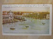1904 St. Louis World's Fair Elec & Edu Bldgs Glitter Used Postcard