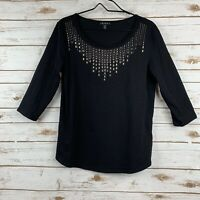 Tribal Women's Blouse Top Size M Black Silver Embellished 3/4 Sleeve