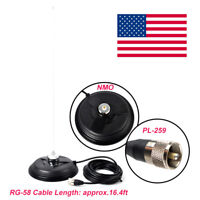 NMO Magnet Antenna Mount for CB Radio W/5M(16.4ft) RG58 Coaxial Cable PL-259
