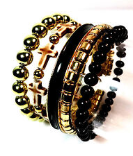 ELEGANT GOLD BLACK MULTI BEAD CROSS CHARM BANGLES SET UNIQUE RETRO STUNNING(CL4)