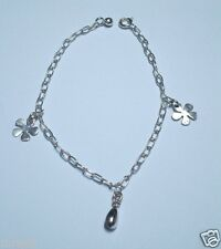 MRE * 925 Sterling Silver Bracelet with Flower, Rain Drop and Circle Charms