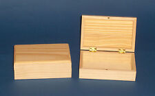 New Small Rectangular pine wooden box with hinge and magnetic catch to paint