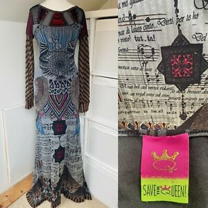 Save The Queen Red & Grey Maxi Dress Size M Mesh Applique Egyptian Musical Notes