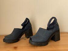 CAMPER navy Nubuck leather Chunky heel peeptoe sandals shoes sz 36/6