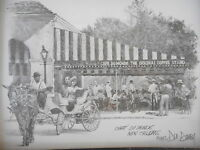 New Orleans Cafe Dumonde Don Davey Matted Art Print French Quarter 1997