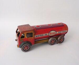 "Vintage Toy Mettoy Tinplate Clockwork Wind Up Esso Motor Oil Petrol 10"" Tanker"