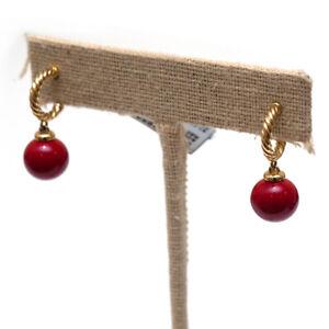New DAVID YURMAN Solari Red Enamel and 18K Yellow Gold Hoop Earrings